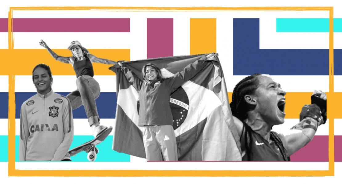 Colagem com atletas olímpicos
