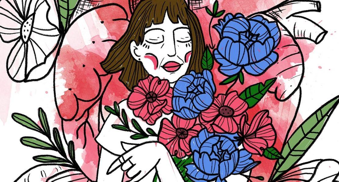 Ilustração em estilo de xilogravura retrata mãe com flores vermelhas e azuis nos braços