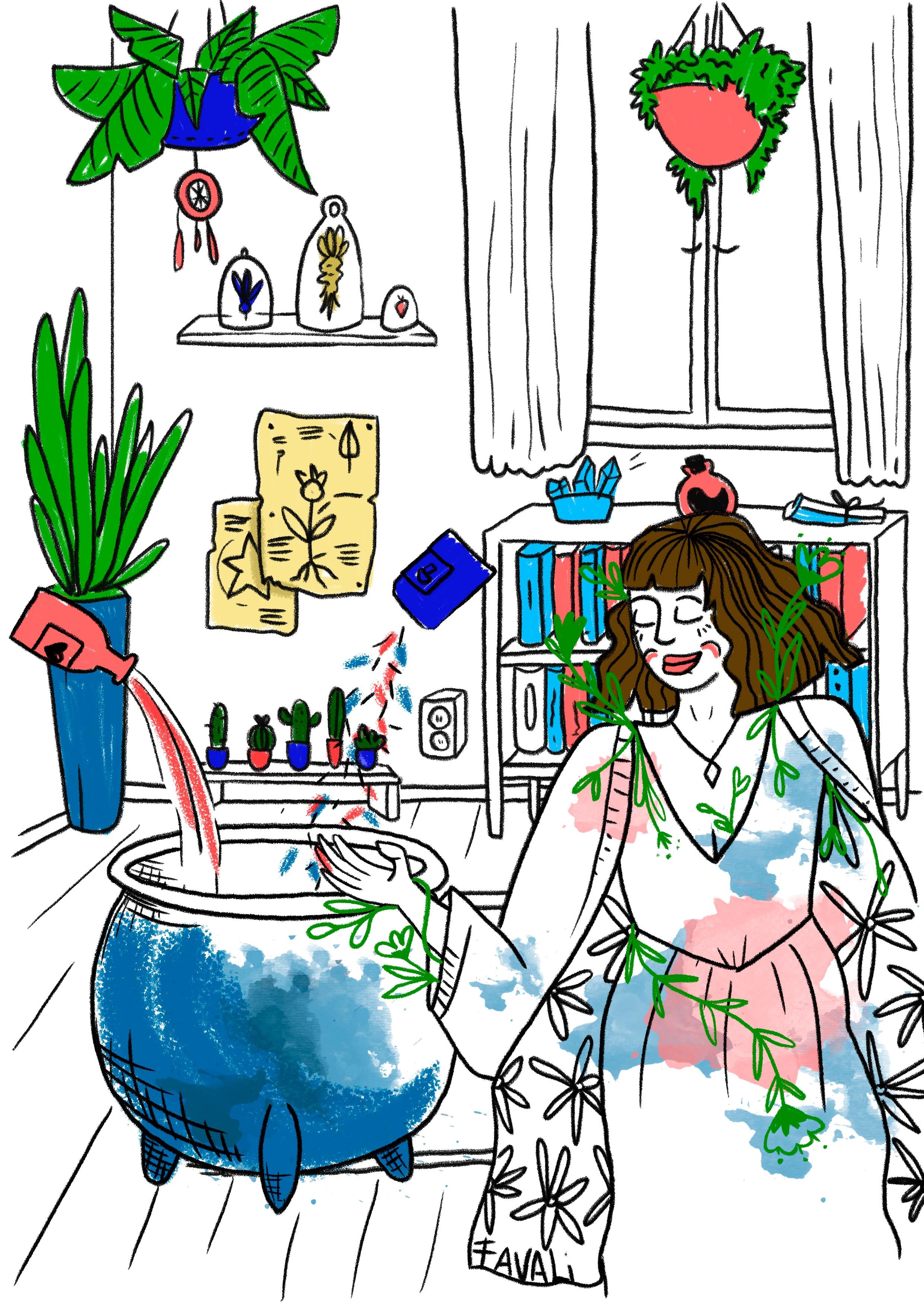 llustração em estilo xilogravura mostra mãe em casa, com um caldeirão, como se estivesse fazendo feitiçosa