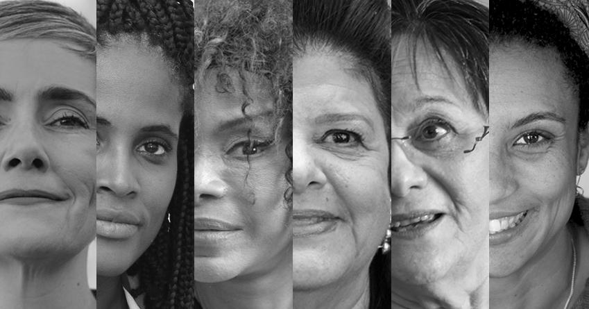 Montagem com rosto de seis mulheres