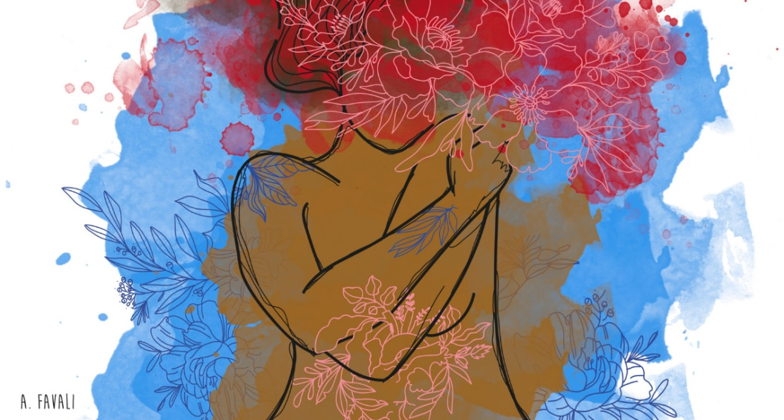 Ilustração de uma mulher com os braços em volta do próprio corpo